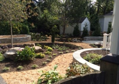 Seat Walls, Path, & Plantings